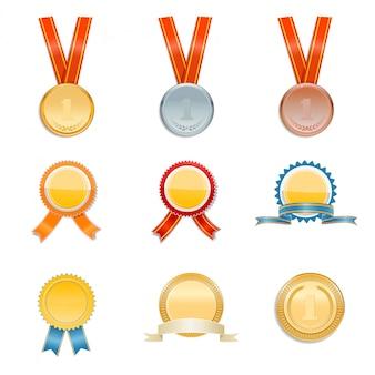 Zestaw złotych, srebrnych i brązowych medali i nagród. ilustracja