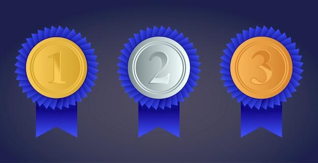 Zestaw złotych, srebrnych i brązowych medali nagród na białym tle na przezroczystym tle. ilustracji wektorowych