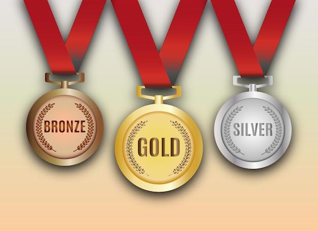 Zestaw złotych, srebrnych i brązowych medali. wektor