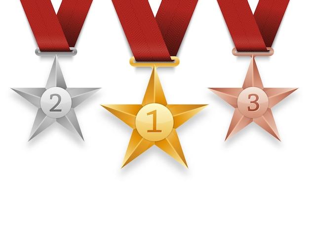 Zestaw złotych, srebrnych i brązowych medali z gwiazdami