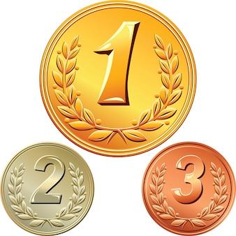 Zestaw złotych, srebrnych i brązowych medali za pierwsze, drugie, trzecie miejsce