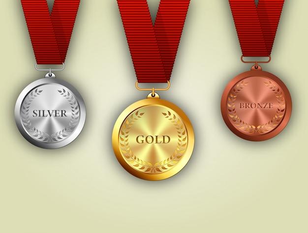 Zestaw złotych, srebrnych i brązowych medali