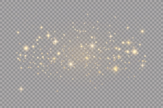 Zestaw złotych świecące efekty świetlne na przezroczystym tle