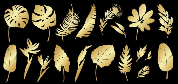 Zestaw złotych sylwetek tropikalnych liści palmy rośliny kwiaty bananowce monstera