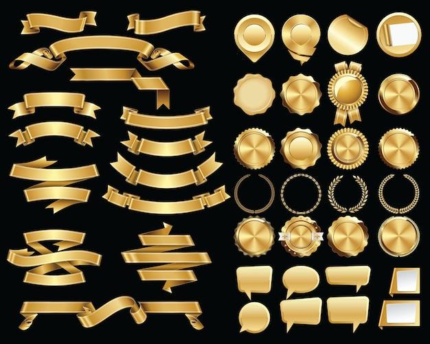 Zestaw złotych wstążek i pieczęci certyfikatów i odznaki