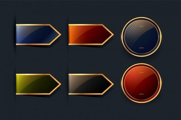 Zestaw złotych wstążek i wzorów etykiet