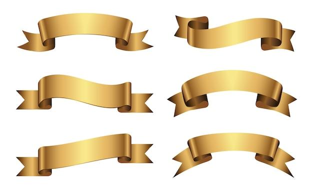 Zestaw Złotych Wstążek Premium Wektorów
