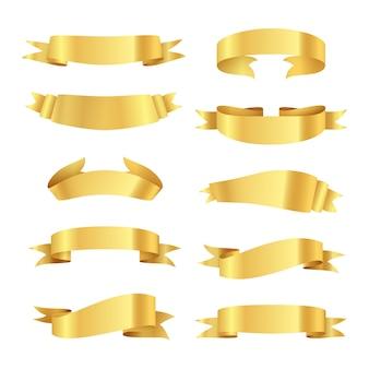 Zestaw złotych wstążek