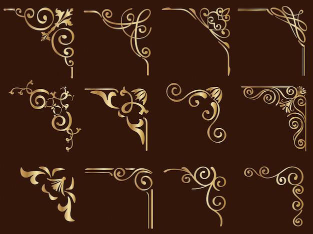 Zestaw złotych zabytkowych ramek narożnych na białym tle na ciemnym tle.