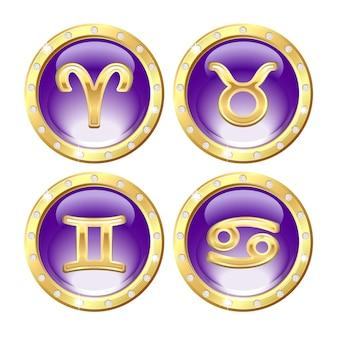 Zestaw złotych znaków zodiaku