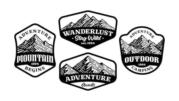 Zestaw znaczka z logo górskich, monochromatyczny w stylu vintage