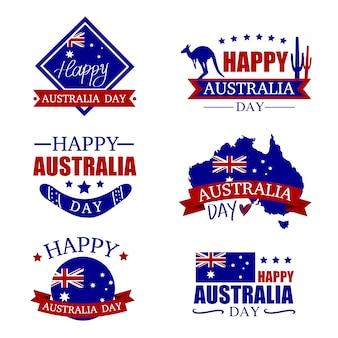 Zestaw znaczków australia day. szczęśliwy dzień australii. mapa australii z flagą. illustra wektor