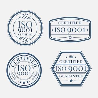 Zestaw znaczków certyfikacji iso