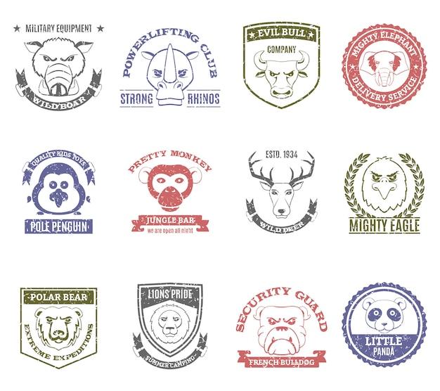 Zestaw znaczków dzikich zwierząt