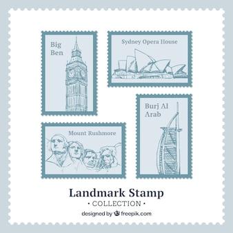 Zestaw znaczków landmark w stylu wyciągnąć rękę