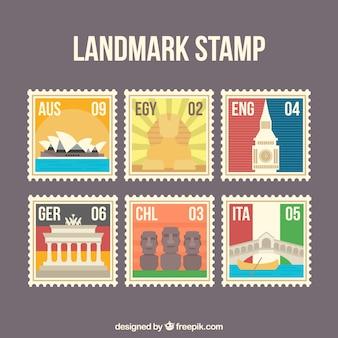 Zestaw znaczków landmark z miast i zabytków