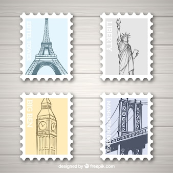 Zestaw znaczków landmark z różnych miast w stylu wyciągnąć rękę