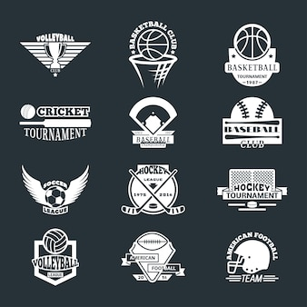 Zestaw znaczków logo drużyny sportowej.