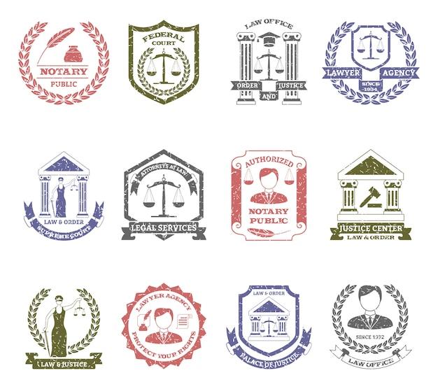Zestaw znaczków logo prawa i porządku