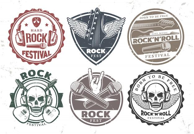Zestaw znaczków muzyki retro rockowej