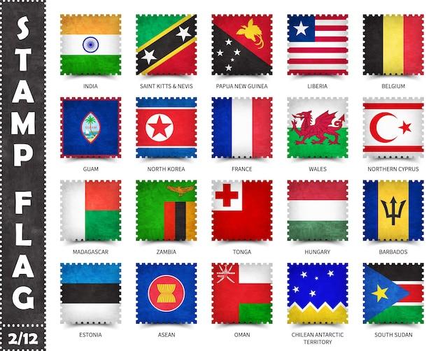 Zestaw znaczków oficjalnych flag krajów świata