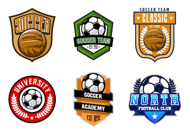 Zestaw znaczków piłki nożnej lub piłki nożnej