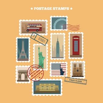 Zestaw znaczków pocztowych podróży: usa, nowy jork, londyn, paryż