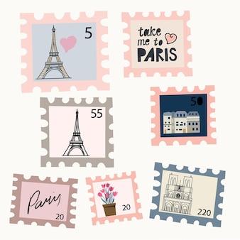 Zestaw znaczków pocztowych z rysunkami paryża ręcznie rysowane plakat pokój wystrój wnętrz pocztówka koncepcja
