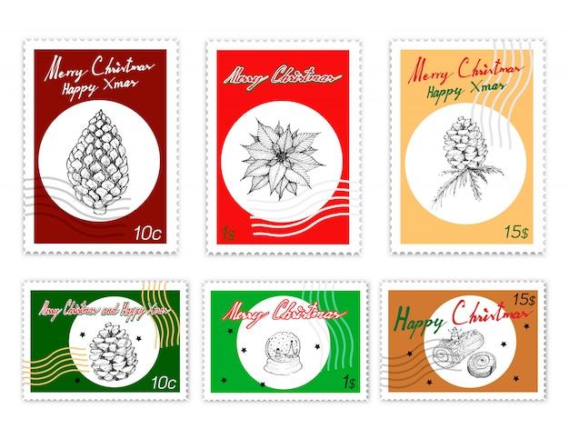 Zestaw znaczków pocztowych zestaw pięknych, wesołych świątecznych przedmiotów