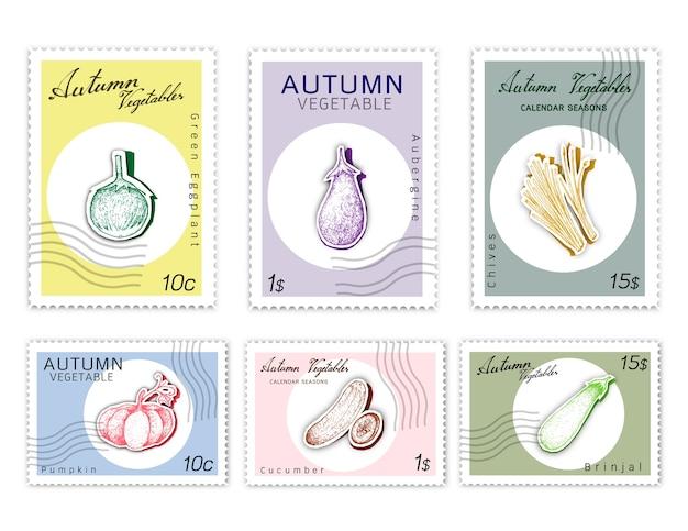 Zestaw znaczków pocztowych zestaw warzyw jesieni z papieru cut art