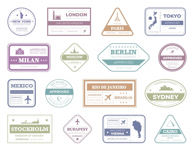 Zestaw znaczków podróży paszportowej