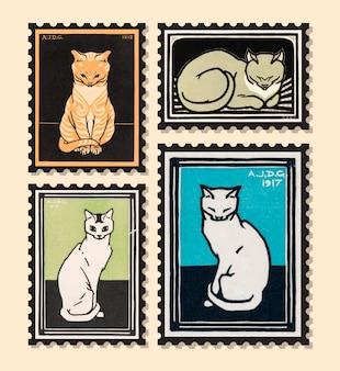 Zestaw znaczków z kotami