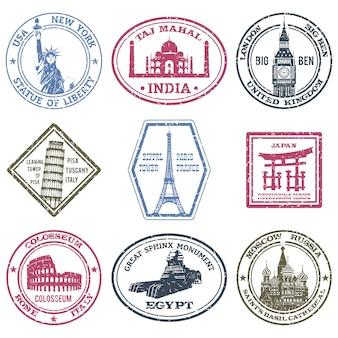 Zestaw znaczków zabytków