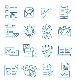 Zestaw znacznika wyboru i zatwierdzonych ikon ze stylem konturu
