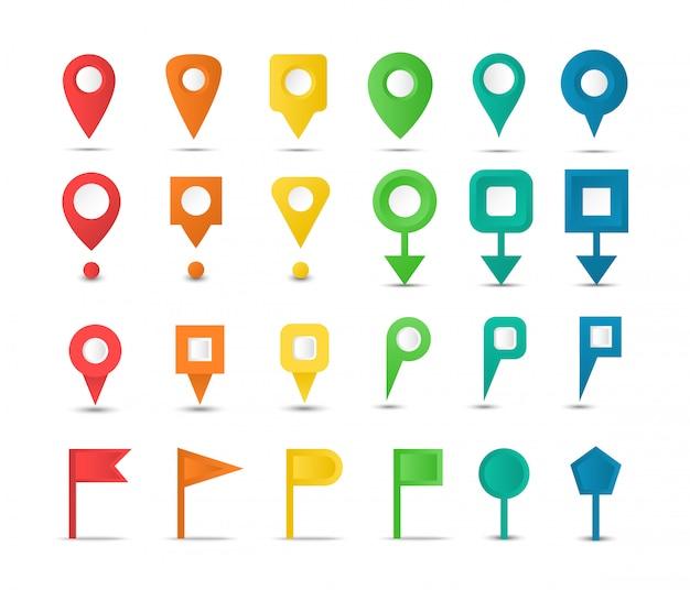 Zestaw znaczników mapy i kolorowych wskaźników. przypinki do mapy nawigacyjnej. kolekcja ikon gps.