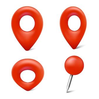 Zestaw znaczników mapy ikony pinezki na mapie 3d wskaźniki wektorowe dla lokalizacji geograficznej na białym tle