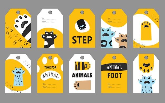 Zestaw znaczników stóp zwierząt.