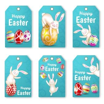 Zestaw znaczników wielkanocnych z królikami i jajami. kartki z życzeniami. wesołych świąt wielkanocnych.