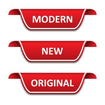 Zestaw znaczników wstążek. nowoczesne, nowe, oryginalne