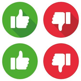 Zestaw znak kciuk w górę i kciuk w dół. ilustracji wektorowych
