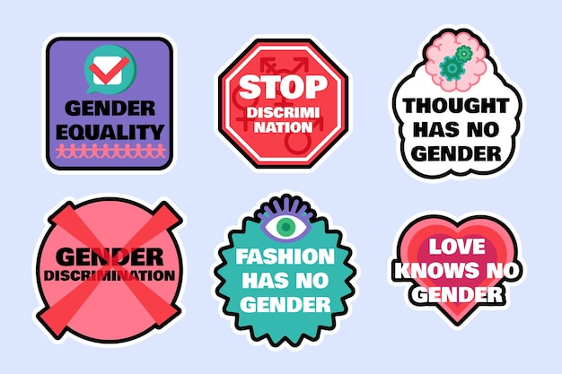 Zestaw znaków, aby zatrzymać dyskryminację płci na białym tle ilustracji wektorowych płaski. ochrona praw kobiet, zapobieganie molestowaniu i agresji, koncepcja tolerancji lgbt