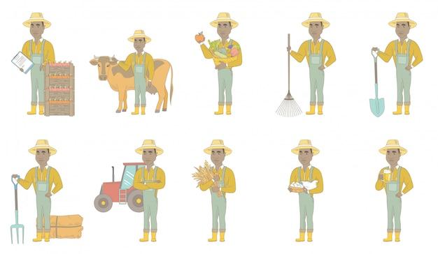 Zestaw znaków afrykańsko-amerykański rolnik