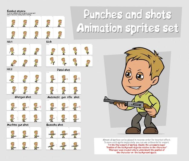 Zestaw znaków animacji postaci chłopiec kreskówka duszki
