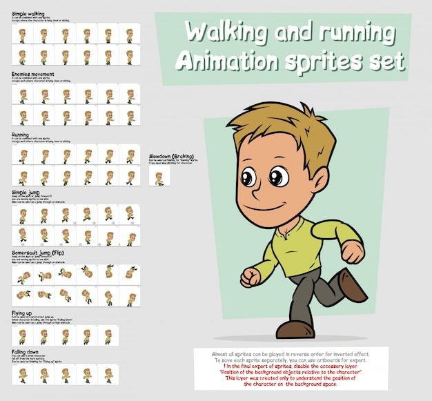 Zestaw znaków animacji postaci chłopiec kreskówka sprites arkusz