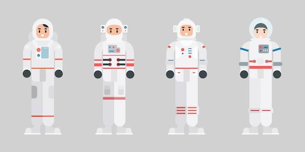 Zestaw znaków astronautów. postać kosmonauta nowoczesny kreskówka w stylu płaski.