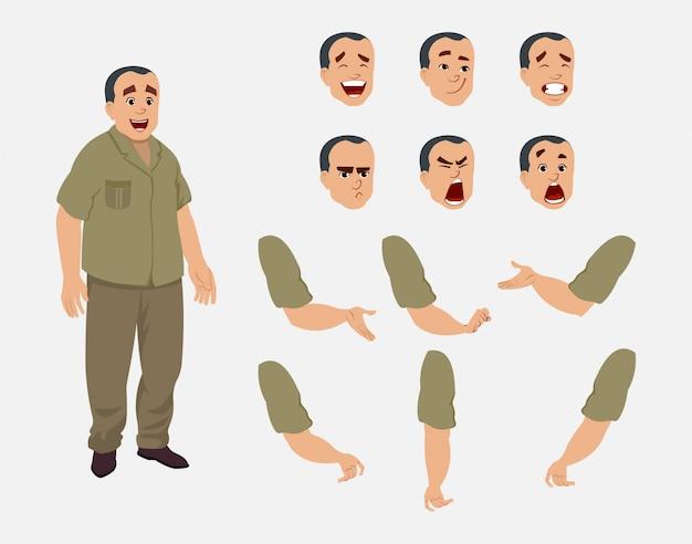 Zestaw znaków asystenta biurowego do animacji, projektowania lub ruchu z różnymi emocjami twarzy i rąk.