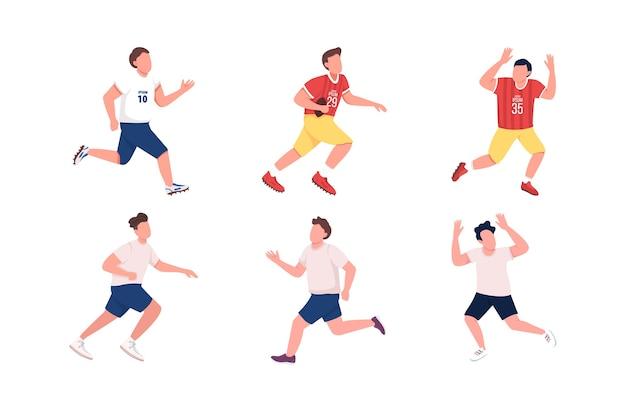 Zestaw znaków bez twarzy piłkarzy w płaskim kolorze. bieganie sportowca. mężczyzna łapie piłkę. piłka nożna, drużyna rugby. sportowcy na białym tle ilustracja kreskówka do projektowania grafiki internetowej i kolekcji animacji