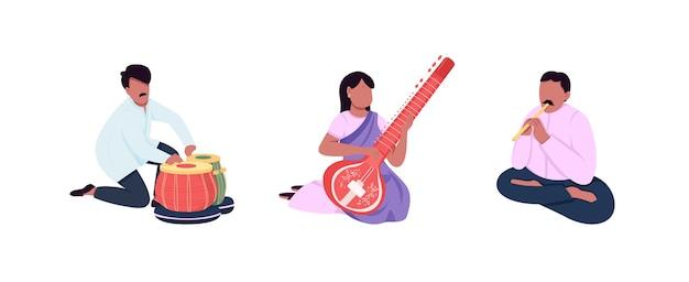 Zestaw znaków bez twarzy tradycyjnych indyjskich muzyków. kobieta w sari. indyjskie etniczne instrumenty muzyczne ilustracja kreskówka na białym tle do projektowania grafiki internetowej i kolekcji animacji