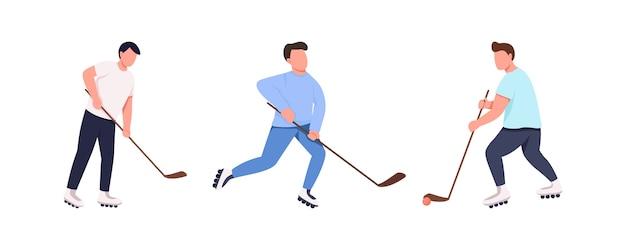 Zestaw znaków bez twarzy w płaskim kolorze drużyny hokejowej. gracze z kijem i krążkiem. sportowiec na rolkach. konkurencyjna ilustracja kreskówka na białym tle sport do projektowania grafiki internetowej i pakietu animacji