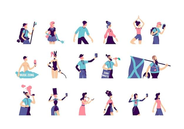Zestaw znaków bez twarzy w płaskim kolorze subkultury. mężczyzna łyżwiarz. hipster z brodą. kobieta w ubrania w stylu boho. alternatywny styl życia na białym tle ilustracje kreskówka na białym tle